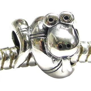 Queenberry Sterling Silver Cute Snake European Bead Charm