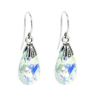 Queenberry Sterling Silver Aurora Borealis Teardrop Crystal Charm Dangle Earring