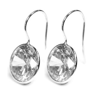 Queenberry Sterling Silver Round-cut Cubic Zirconia Solitaire Dangle Earring