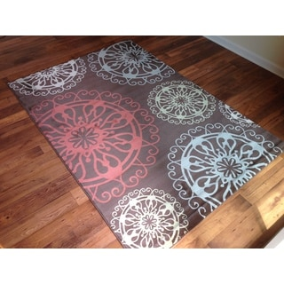 Geometric Multicolor Brown Transitional Contemporary Area Rug (6'6 x 9'6)