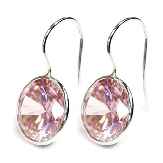 Queenberry Round-cut Pink Rose Cubic Zirconia Solitaire Dangle Earring