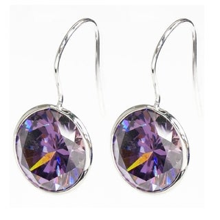 Queenberry Round-cut Tanzanite Purple Cubic Zirconia Solitaire Dangle Earring