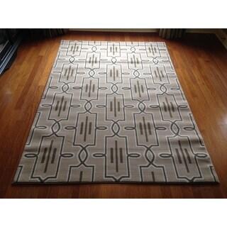 Lattice Brown Beige Soft Plush Contemporary Area Rug (6'6 x 9'6)