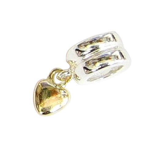 Queenberry Gold Over Sterling Silver Heart Dangle European Bead Charm