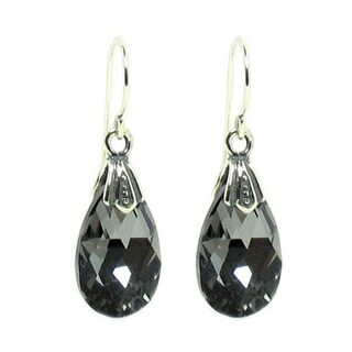 Queenberry Sterling Silver Night Black Teardrop Crystal Charm Dangle Earring