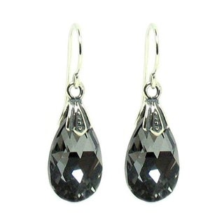 Queenberry Sterling Silver Night Black Teardrop Crystal Charm Dangle Earring