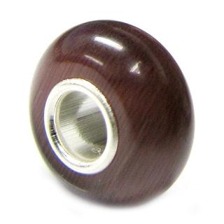 Queenberry Sterling Silver Round Dark Purple Cat-eye European Bead Charm