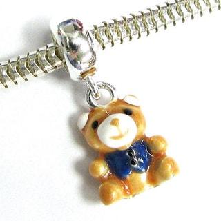 Queenberry Sterling Silver Enamel Brown Teddy Bear Dangle European Bead Charm