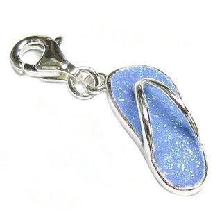 Queenberry Sterling Silver Blue Flip-flop Dangle European Bead Charm