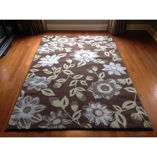 Brown Beige Floral Transitional Contemporary Area Rug (5'3 x 7'6)