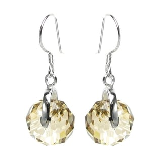 Queenberry Sterling Silver Briolette Bead Rondelle Golden Shadow Crystal Dangle Earrings