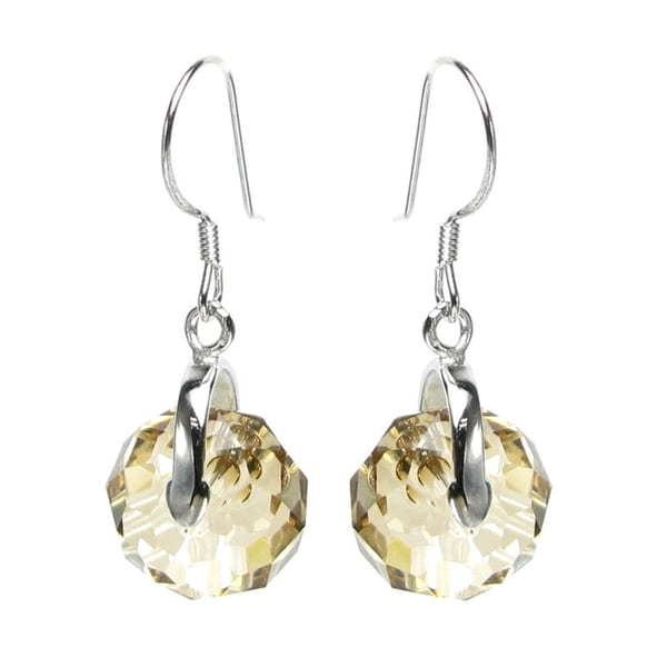 e525f6f3acbf3 Queenberry Sterling Silver Briolette Bead Rondelle Golden Shadow Crystal  Dangle Earrings