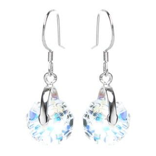 Queenberry Sterling Silver Briolette Rondelle Aurora Borealis Dangle Earrings