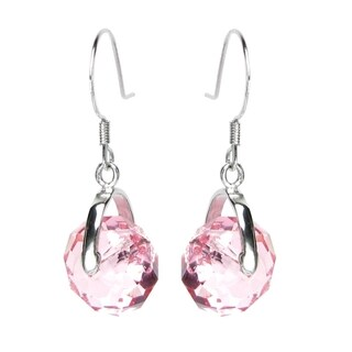 Queenberry Sterling Silver Briolette Bead Rondelle Light Rose Pink Crystal Dangle Earrings