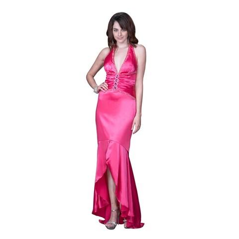 Women's Satin Halter Ruffled Hi-low Hem Gown