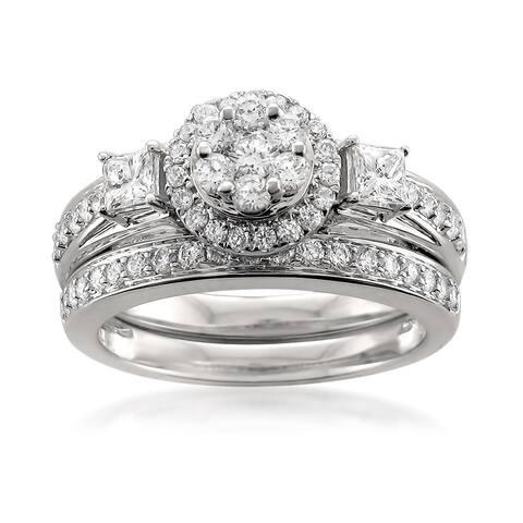 Montebello 14KT White Gold 1ct TDW Diamond Bridal Set