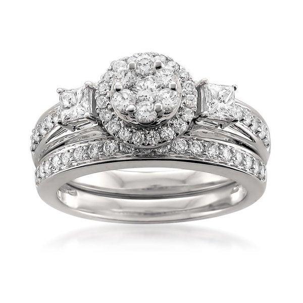 Montebello 14KT White Gold 1ct TDW Diamond Bridal Set. Opens flyout.