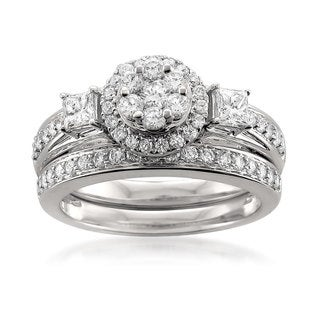 Montebello 14k White Gold 1ct TDW White Diamond Halo Engagement Ring and Wedding Band Bridal Set