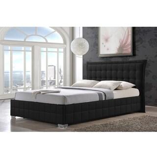 Goulding Black Faux Leather Upholstered Queen Size Platform Bed