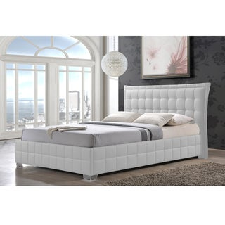 Goulding White Tufted Faux Leather Upholstered Platform Bed