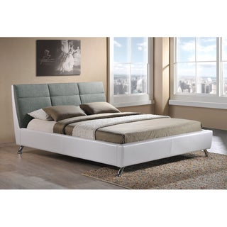 Gore Faux Leather Upholstered White/ Grey Platform Bed