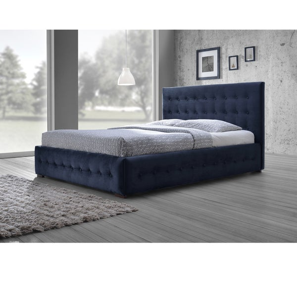 Baxton Studio Modern and Contemporary Navy Blue Velvet Fabric Button-tufted Queen Platform Bed