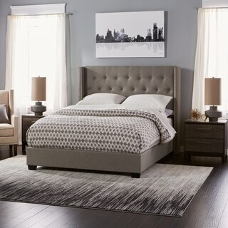 Diamond Tufted Wingback Bed in Grey