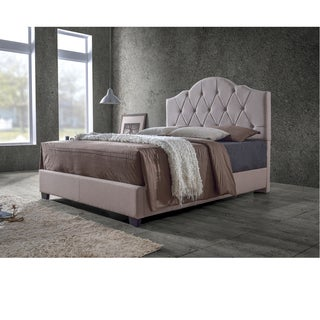 Earp Transitional Brown Fabric Upholstered Button Tufted Bed-King