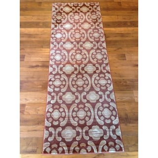 Beige Red/Burnt Orange Geometric Modern Contemporary Area Rug (2'7 x 7'7)