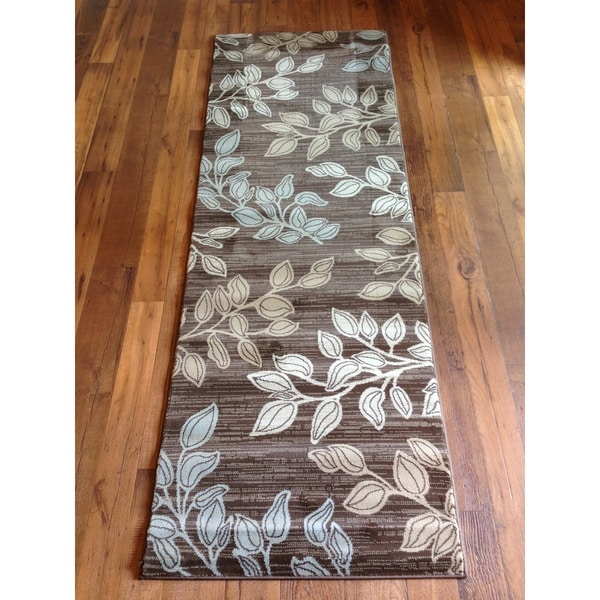 Shop Grey Blue Brown Floral Contemporary Area Rug Free