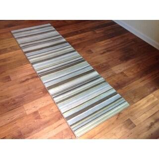 Stripes Multicolor Modern Contemporary Area Rug (2'7 x 7'7)