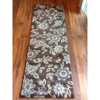 Floral Brown Beige Soft Modern Contemporary Area Rug (2'7 x 7'7)