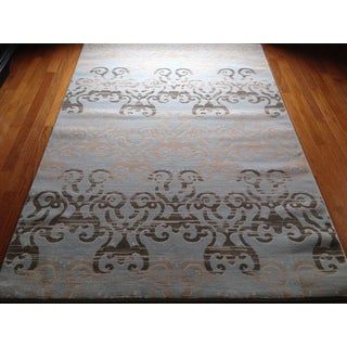 Grey Blue Soft Plush Contemporary Area Rug (2' x 3')