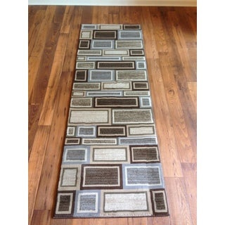 Grey Brown Geometric Modern Contemporary Area Rug (2'7 x 7'7)