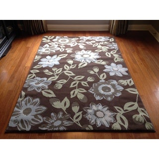 Floral Brown Beige Soft Plush Contemporary Contemporary Area Accent Rug (2' x 3')