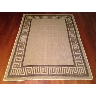 Beige Brown Pool Patio Deck Greek Key Area Rug (6'5 x 9'2)