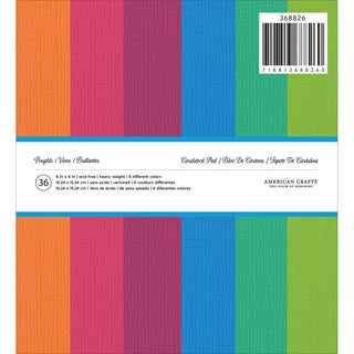American Crafts Solid Cardstock Pad 6inX6in 36/PkgBrights