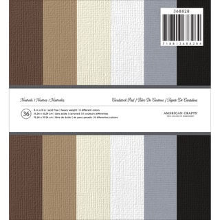 American Crafts Solid Cardstock Pad 6inX6in 36/PkgNeutrals
