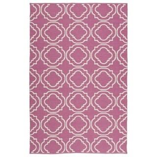 "Indoor/Outdoor Laguna Pink and Ivory Geo Flat-Weave Rug (5'0 x 7'6) - 5' x 7'6"""