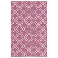 """Indoor/Outdoor Laguna Pink and Ivory Geo Flat-Weave Rug - 5' x 7'6"""""""