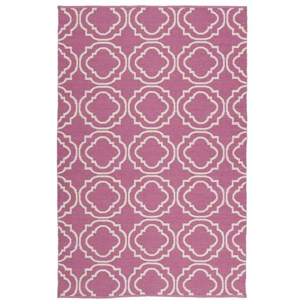 Indoor/Outdoor Laguna Pink and Ivory Geo Flat-Weave Rug - 9' x 12'