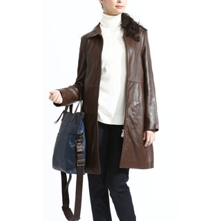 Tanners Avenue Women's Caramel Leather Zip-out Liner Coat