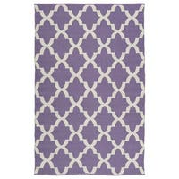 Indoor/Outdoor Laguna Lilac and Ivory Trellis Flat-Weave Rug - 5' x 7'6