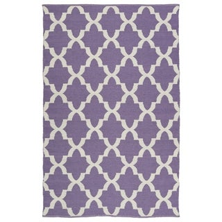 Indoor/Outdoor Laguna Lilac and Ivory Trellis Flat-Weave Rug (3'0 x 5'0)