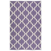 Indoor/Outdoor Laguna Lilac and Ivory Trellis Flat-Weave Rug - 3' x 5'