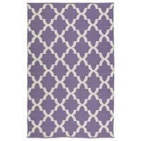 Indoor/Outdoor Laguna Lilac and Ivory Trellis Flat-Weave Rug - 2' x 3'