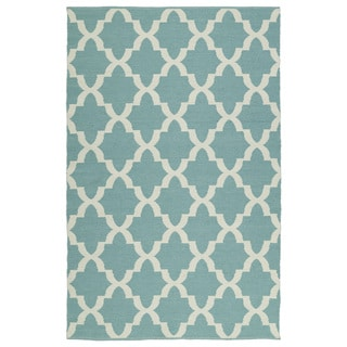Indoor/Outdoor Laguna Seafoam and Ivory Trellis Flat-Weave Rug (9'0 x 12'0) - 9' x 12'