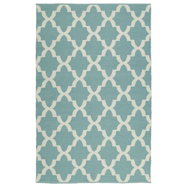 Indoor/Outdoor Laguna Seafoam and Ivory Trellis Flat-Weave Rug - 9' x 12'