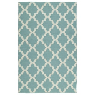 Indoor/Outdoor Laguna Seafoam and Ivory Trellis Flat-Weave Rug (9'0 x 12'0)