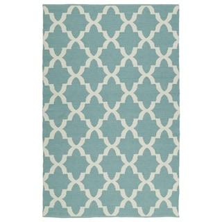 Indoor/Outdoor Laguna Seafoam and Ivory Trellis Flat-Weave Rug (8'0 x 10'0) - 8' x 10'